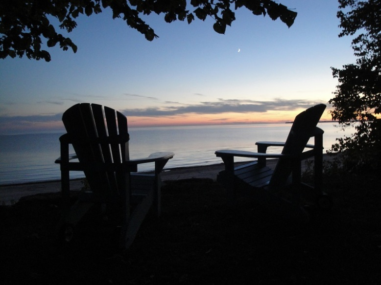 Beach view from the Muskoka chairs on the front lawn.